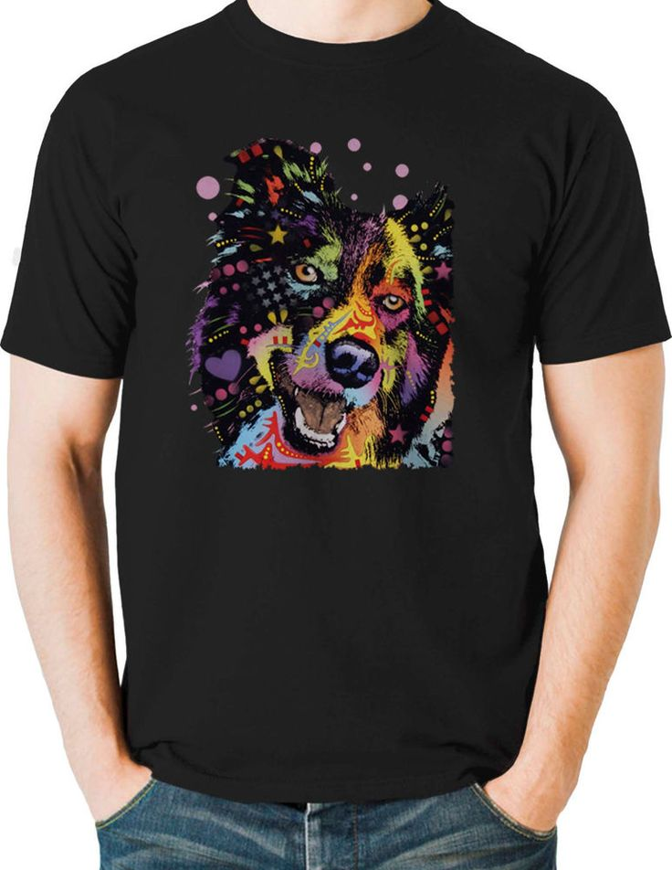 Happy Border Collie T Shirt Neon Bright Graphic Dog Mens Small to 6XL & Big Tall #TShirtsRule #GraphicTee