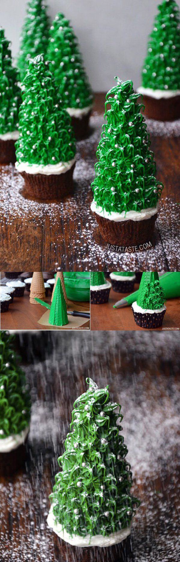 Pine tree inspired Christmas cupcakes. The chocolate cupcakes have been topped with green icing decoration to mimic a pine tree on the snow and designed with silver colored icing to look like shiny Christmas balls.