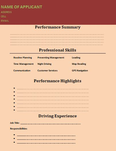 Truck Driver Resume Template 2