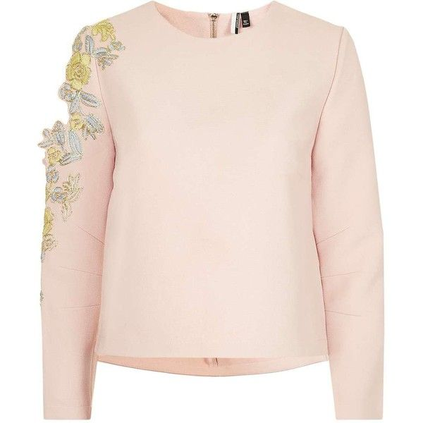 TopShop Embroidered Sweatshirt (219.715 COP) ❤ liked on Polyvore featuring tops, hoodies, sweatshirts, embroidered sweatshirts, embroidery top, embellished sweatshirt, embroidered top and pink sweatshirts