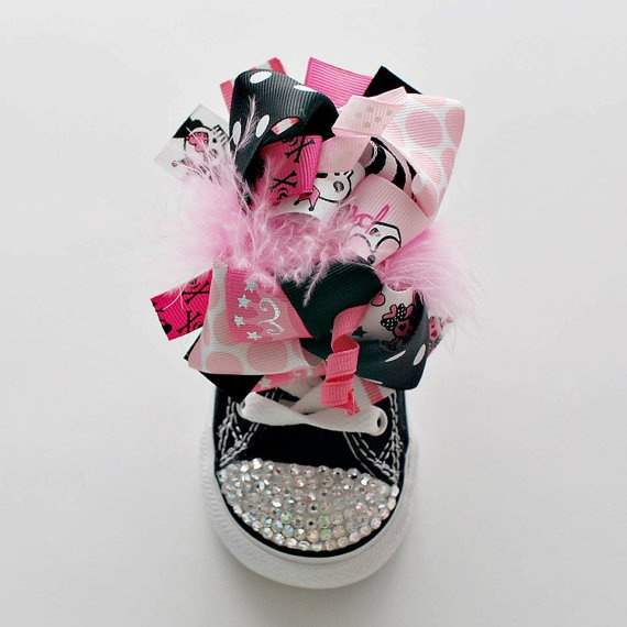 Light Pink Punk Rock Bling Low Top Converse with 2 Sets of Bows by StarlettSneakers, $80.00