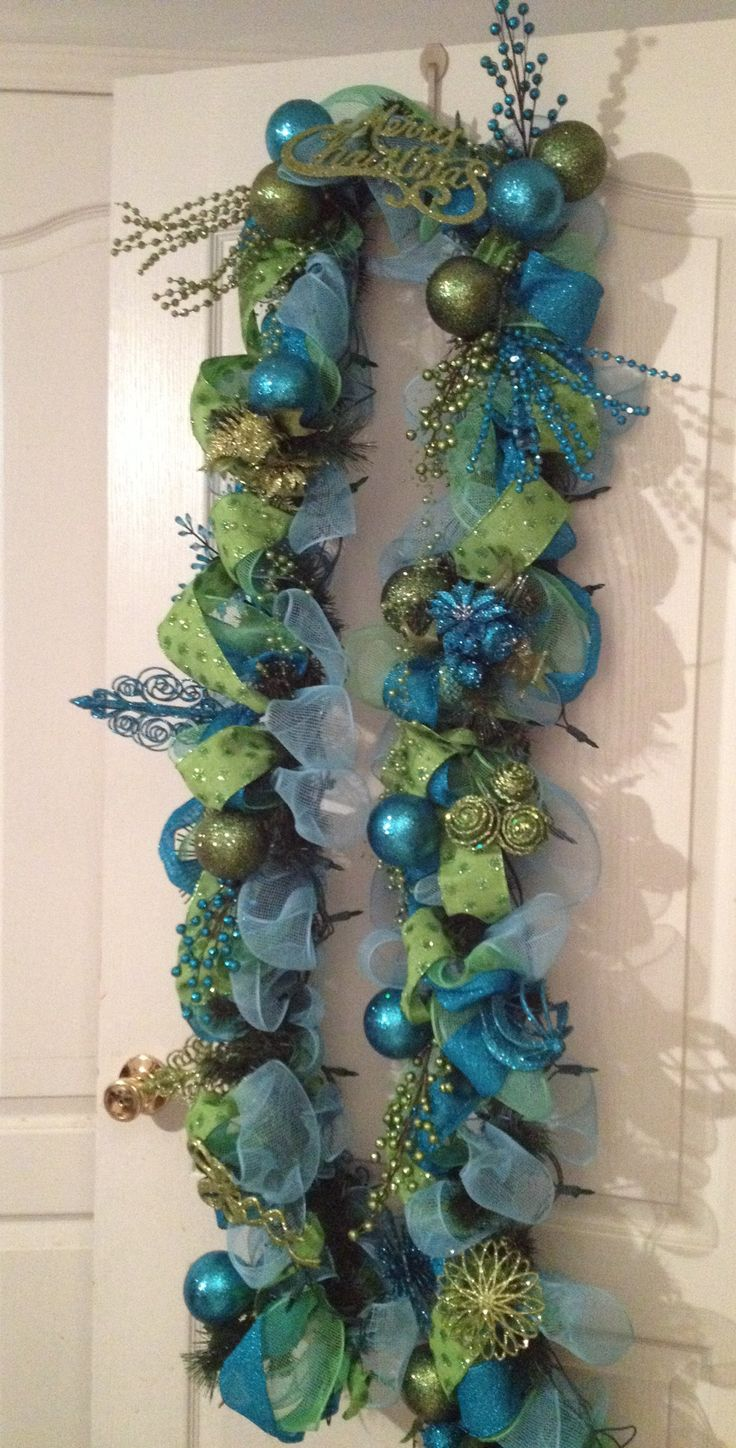 Christmas Teal Blue and Green Garland With Lights