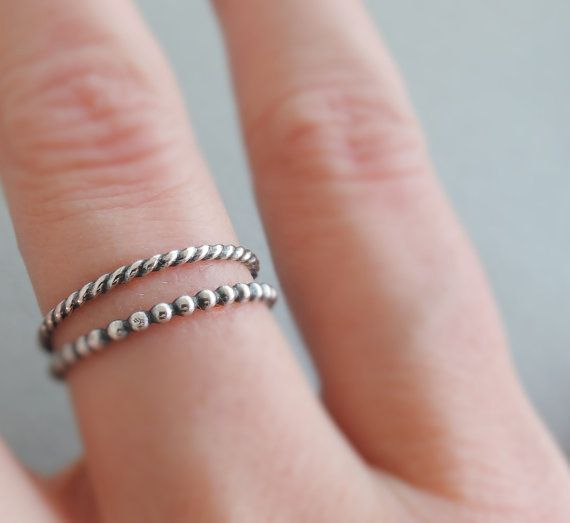 Oxidized Sterling Silver Rings Stack Rings 2 thin by bluebirdss