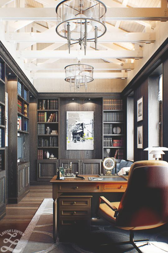 Nice Spectacular Library And Home Office For Him. Definitely On The Masculine  Side But Equally Comfortable For The Femme.