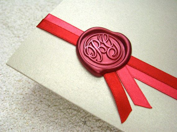 "Wedding Monogram Wax Seal - use a hot glue gun ""wax"" reg wax seals can crack while in the postal system"