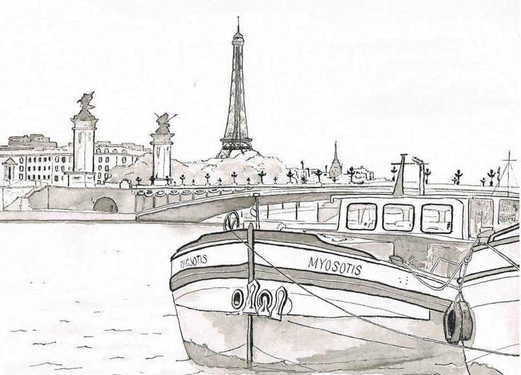 Coloriage Péniche sur la Seine