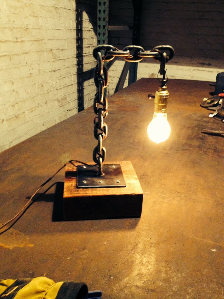 welded chain desk lamp Similar items available on our ETSY shop makerschicago (one word)