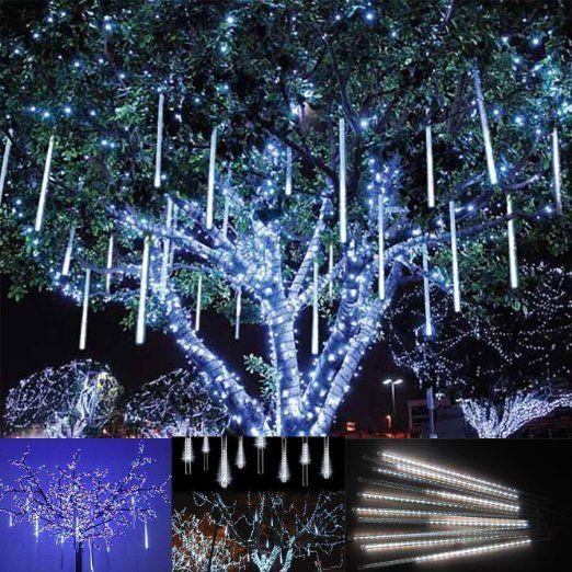 Victorstar @ 30CM 10 Tubi 360 LED Luci Pioggia di Meteore / Luci Nevicata - Matrimonio, Partito, Natale, Xmas, Paesaggio Albero Decorazione - Due Facce di Illuminazione Impermeabile (Luce Bianca)