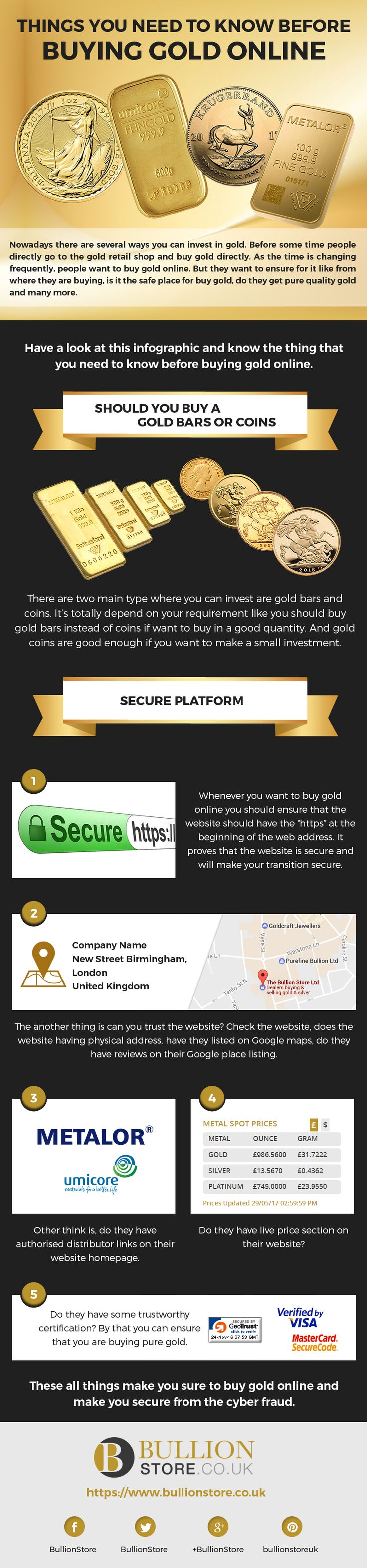 Things you need to know before buying gold online  Have a look at this infographic and know the thing that you need to know before Buy Gold Online.