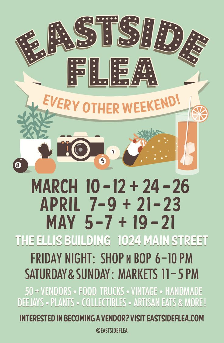 Poster Design for the Eastside Flea Spring Markets. Vintage inspired with bright inviting colour and illustrative elements.