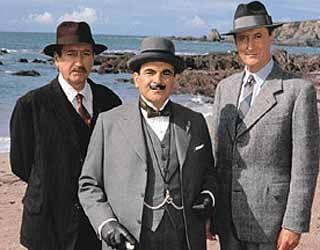 """Hercule Poirot"" by Agatha Christie  - Love a Classic Murder Mystery!  Philip Jackson as Inspector Arthur Japp, David Suchet as Hercule Poirot and Hugh Fraser as Captain Hasting."
