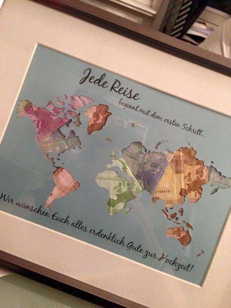 Geldgeschenke – Individuelle Geschenkidee *Weltkarte* Geldgeschenk – ein Designerstück von Still-Love bei DaWanda (Diy Geschenke Wohnung)