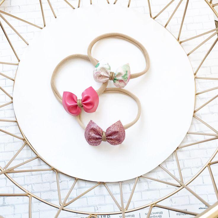Pink newborn headband set, makes a great baby shower gift.