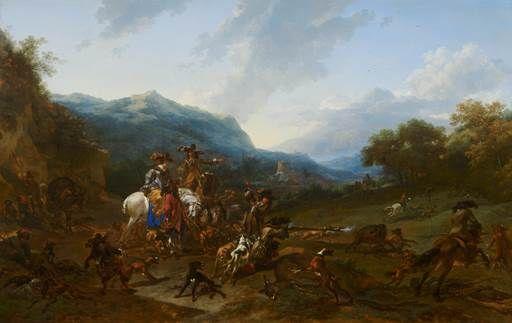Nicolaes Berchem - Wilde zwijnenjacht, 1659