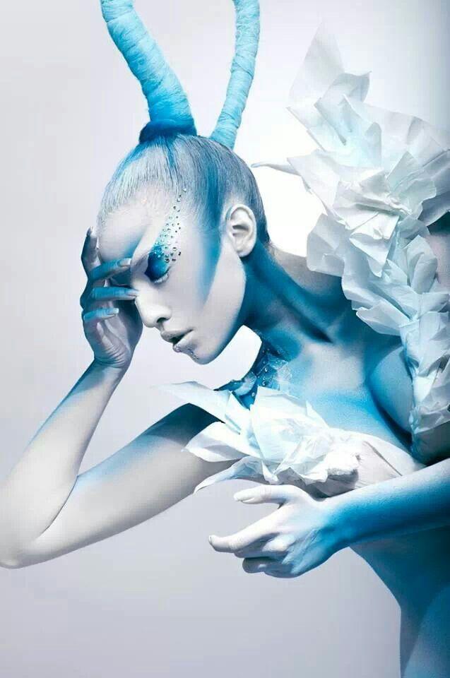 blue white creative makeup look icy flowers with rhinestones love