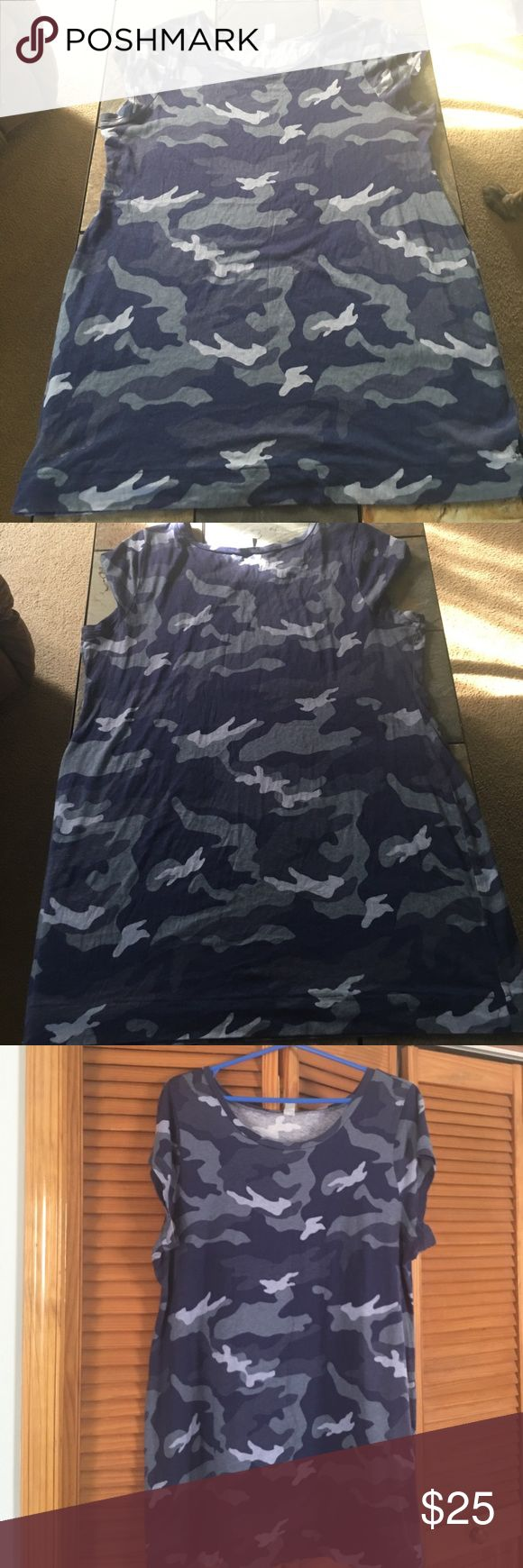 "🔵  NWOT -  OLD NAVY CAMO DRESS 🔵 AWESOME OLD NAVY BLUE AND GRAYISH CAMO TEE SHIRT DRESS, NWOT, NEVER WORN.  EXCELLENT CONDITION, NO DAMAGES, FLAWS, RIPS, STAINS etc... LENGTH IS 24"" from ARMPIT TO BOTTOM. PRICE IS FIRM. Old Navy Dresses Mini"