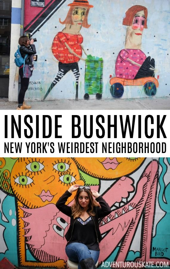 "What makes Bushwick so weird? It's the brightly painted warehouses that you can't tell are functional or abandoned. It's galleries that double as yoga studios and coffeeshops that double as life drawing classes. It's strange parties in abandoned furniture stores where people wear crazy costumes. It's being hit on by guys who always end their catcalls with ""God bless you."""