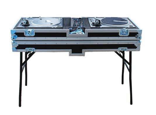 The BFC Dj Flight Case designed for Numark turn table comes with fold out legs in the lid to allow the DJ case to become its own table. The legs are strapped into the lid preventing any damage to the decks. The decks securely sit in foam in a tray with st