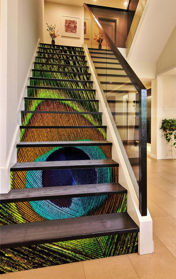 3d Peacock Tail Feather 1109 Stair Risers In 2019 Stair