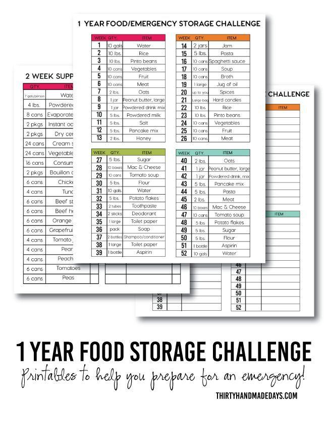 1 Year Food Storage Challenge with printables! | Make sure your family is prepared. Having food storage can help ease the pain of being laid off or in times of natural disaster. | http://www.thirtyhandmadedays.com