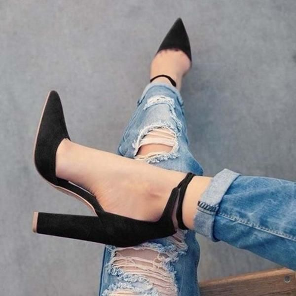 Pointy Toe Block Heel Pumps with Ankle Tie 5 Colors