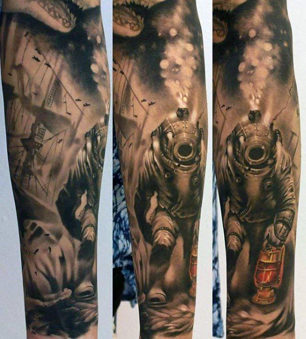 custom diver tattoo on arm for girls tattoos pinterest arms tattoo and girls. Black Bedroom Furniture Sets. Home Design Ideas
