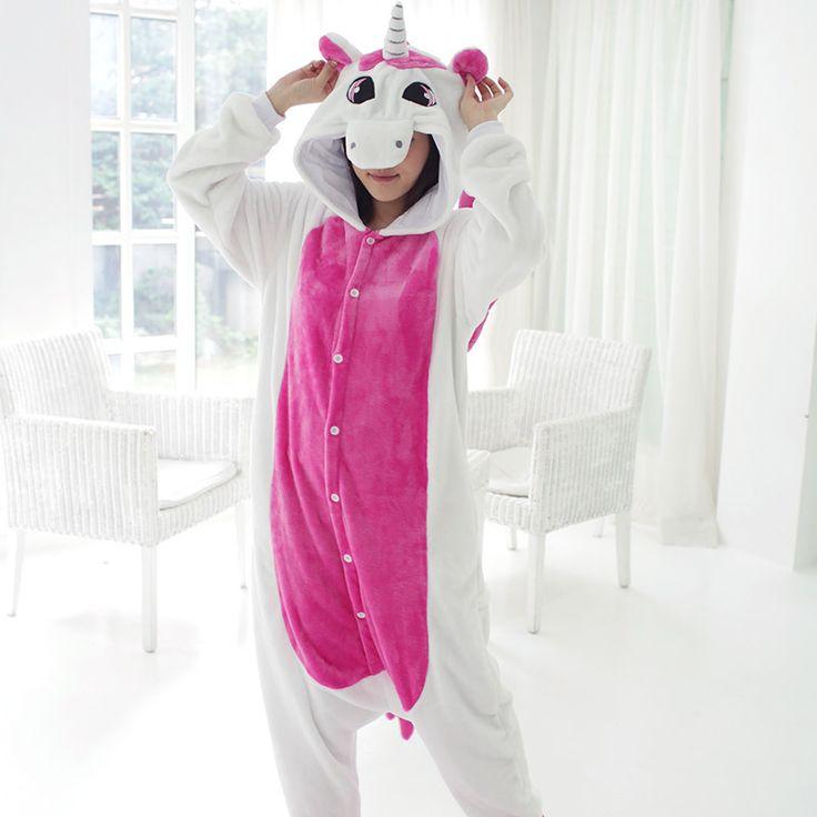 Trajes Cosplay Adultos Onesies Animales Kigurumi Unicorn Franela Con Capucha Pijamas Pijamas Inicio Ropa Mujeres Hombres Ropa de Dormir
