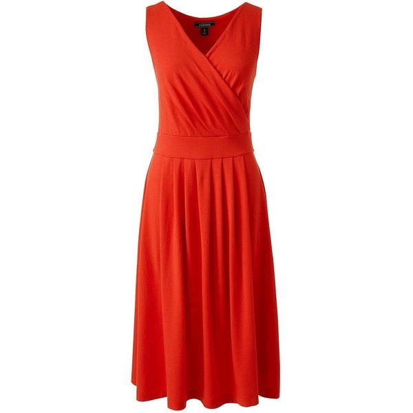 Lands' End Women's Petite Fit and Flare Dress (€52) ❤ liked on Polyvore featuring dresses, orange, petite summer dresses, red orange dress, orange dress, fit and flare summer dress and summer dresses