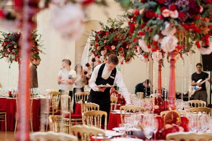 Centerpieces with red roses