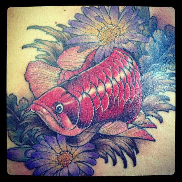 Flowers and Red Arowana Tattoo - Jasmin Austin - http ...