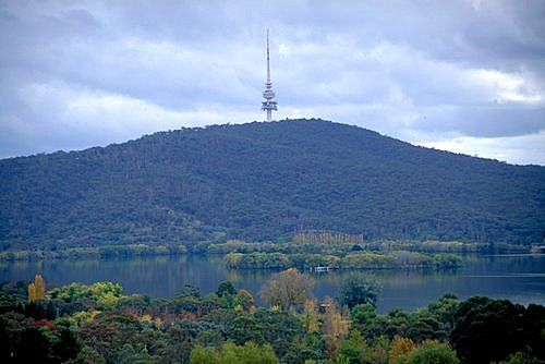Telstra Tower in Canberra, Lake Burley Griffin is in the foreground