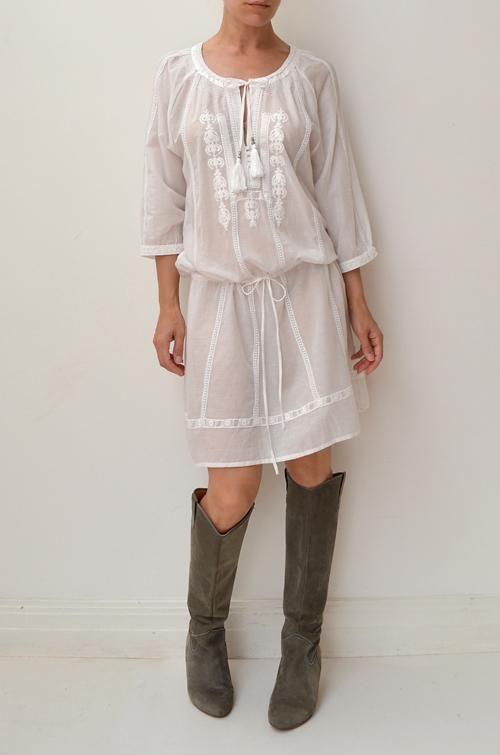 BLUE ILLUSION White Embroidered Lace Cotton Boho Nina Proudman Dress L 8/10/12