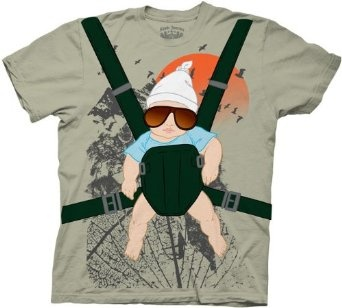 The Hangover Alan Baby Bjorn With Graphic Human Tree Dark Khaki Adult Costume T-Shirt $18.95