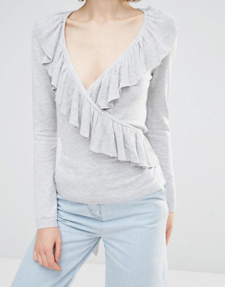 Image 3 of Lost Ink Wrap Front Cardigan With Frill Details