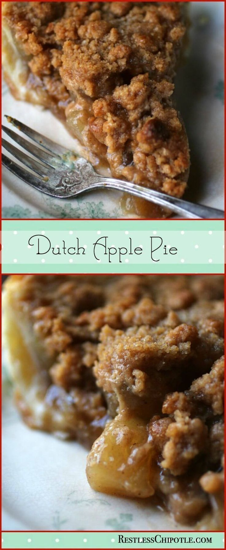 This easy Dutch Apple pie recipe is the BEST! It has a crumbly buttery topping that I just LOVE. Made from scratch it comes out right every time. From http://RestlessChipotle.com