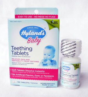 These are THE best!!! Hyland's Teething tablets - natural, homeopathic formula to reduce pain, inflammation, fever, drooling and the discomfort of teething.  Free of benzocaine, parabens, artificial dyes & flavors.  No numbing effect.  Fast, natural relief.