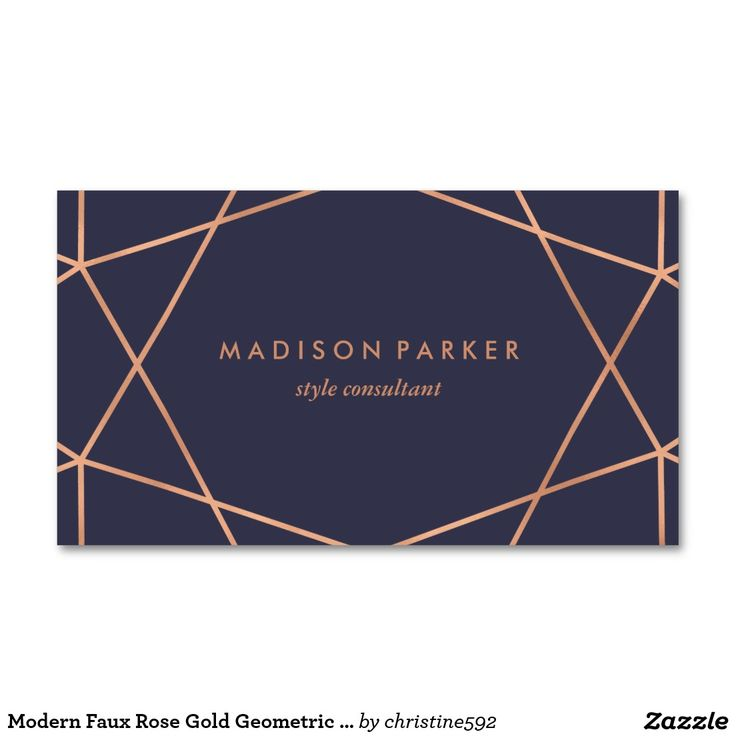 Modern Faux Rose Gold Geometric on Midnight Blue Business Card | @siangabari