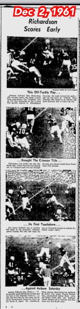 The Tuscaloosa News Dec 2, 1961 - Iron Bowl coverage - Alabama 34 Auburn 0  #Alabama #RollTide #Bama #BuiltByBama #RTR #CrimsonTide #RammerJammer #TheTuscaloosaNews #NationalChampions