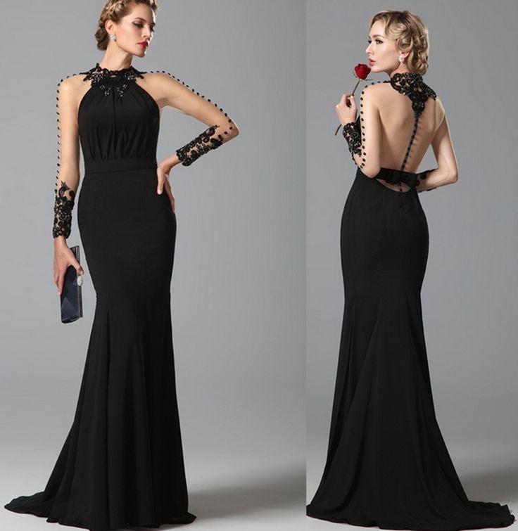 Sexy elegante nero a maniche lunghe abito da sera pavimento-lunghezza della sirena del merletto 2015 nuovo vestito da partito abendkleider vestido(China (Mainland))