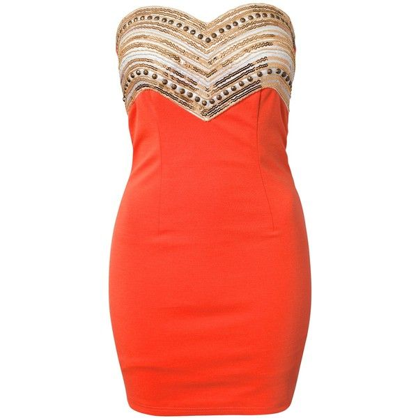 Oneness Christina Dress ($66) ❤ liked on Polyvore featuring dresses, vestidos, robes, orange, party dresses, sequin embellished dress, orange sequin dress, red cocktail dress, red sequin dress and sequin dress