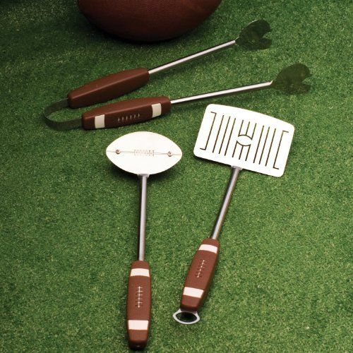 Charcoal Companion 3-Piece Football Barbecue Tool Set by Charcoal Companion. $28.14. Grill brush head is football shape with brass bristles. Helmet design Tong heads; model number: CC1043. Stainless Steel heads. Plastic handles sport football textured grips. Spatula head has gridiron design. Kick off your game day barbecue with grill gear that football fans will stand up and cheer about. Go from rookie to pro this barbecue season. The official playbook calls for footballs ...
