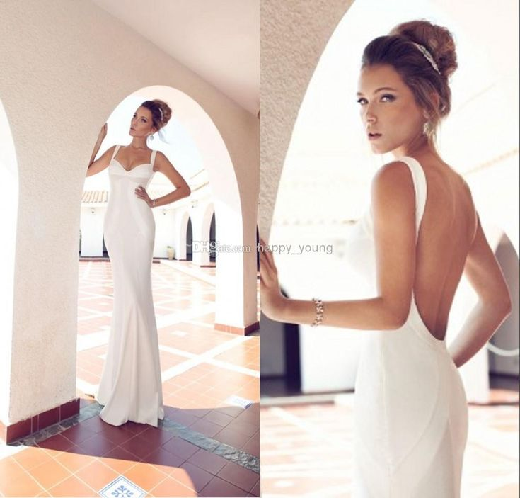 Fancy Simple Julie Vino Sheath Wedding Gowns Spaghetti Straps Sweetheart White Satin Smooth Backless Bridal Dresses