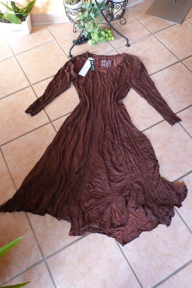 BARBARA SPEER Zipfel Kleid 46 48 50 (2) NEU rost / terra Crash Stretch LAGENLOOK