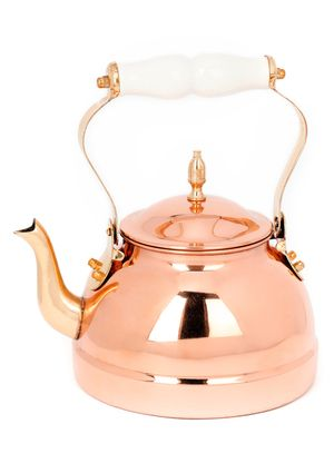 Bright copper kettles and warm woolen mittens... :)  OLD DUTCH Décor Copper Tea Kettle with Ceramic Handle