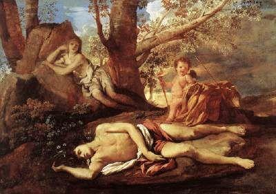 Echo and Narcissus - Nicolas Poussin.  1628-30.  Oil on canvas.  74 x 100 cm.  Musee du Louvre, Paris, France.