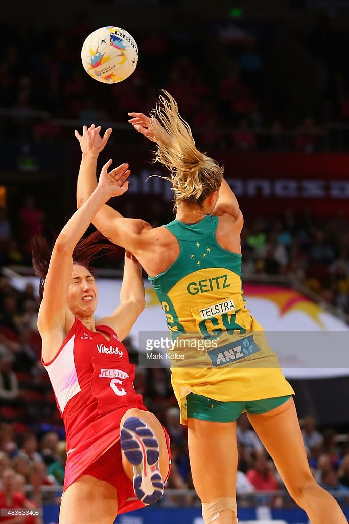 Jade Clarke of England falls after clashing with Laura Geitz Of Australia during the 2015 Netball World Cup Qualification round match between Australia and England at Allphones Arena on August 11, 2015 in Sydney, Australia.