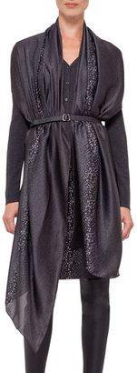 Akris Cashmere-Blend V-Neck Cardigan w/ Detachable Chiffon Scarf, Granite - Shop for women's Cardigan