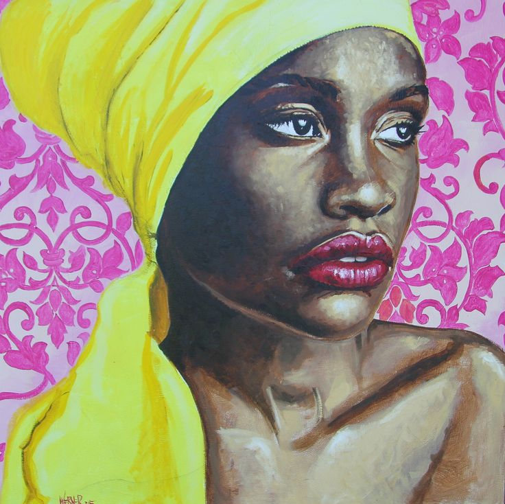 """""""Yellow Turban"""" by Werner Smith 1200 x 1200 mm Oil on Canvas"""