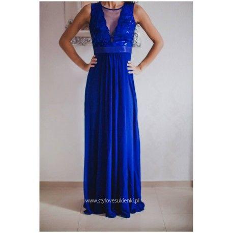 Kobaltowa szyfonowa długa sukienka na sylwestra z głębokim dekoltem z cekinami i siateczką