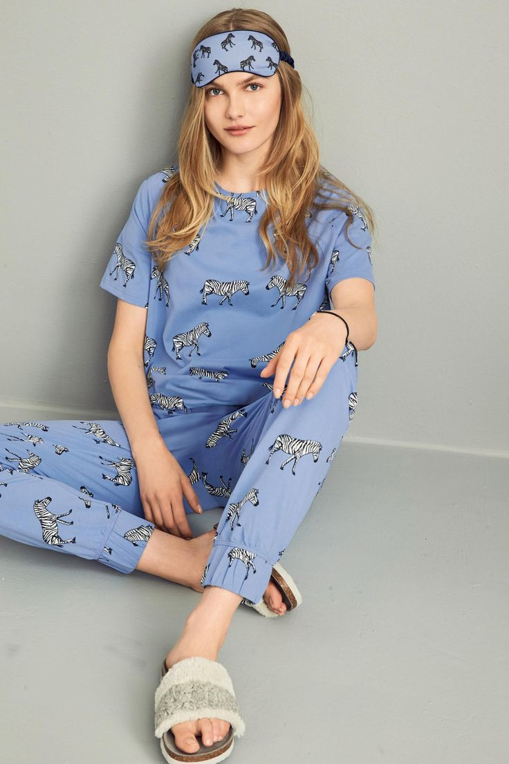 Buy Blue Zebra Print Short Sleeve Pyjamas from the Next UK online shop
